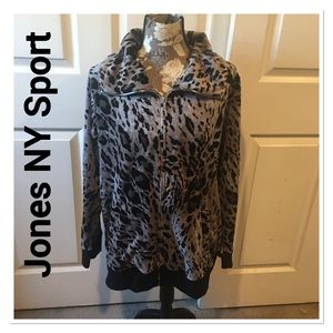 Jones NY Sport Gray Leopard Print Velour Jacket